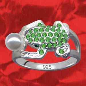 Rana-anillo-real-925-Sterling-plata-pedreria-cristal-circonita-perla