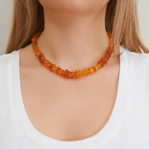Genuine-Natural-Baltic-Amber-Necklace-Bright-Lemon-Beads-Choker-Silver-Clasp