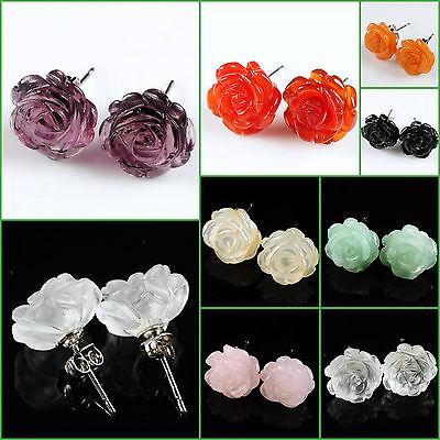 """12mm Handmade carved Gemstone lovely rose flower stud earrings 1/2"""" Wholesale"""