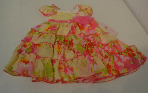 Jona Michelle Girl's Party Dress-YELLOW FLORAL WITH PINK FLOWER @ WAIST-8-NWT