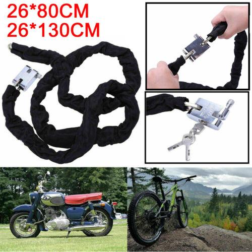 Outdoor Mountain Bike MTB Bicycle Chain Lock Metal Anti-Theft Security 80//130cm