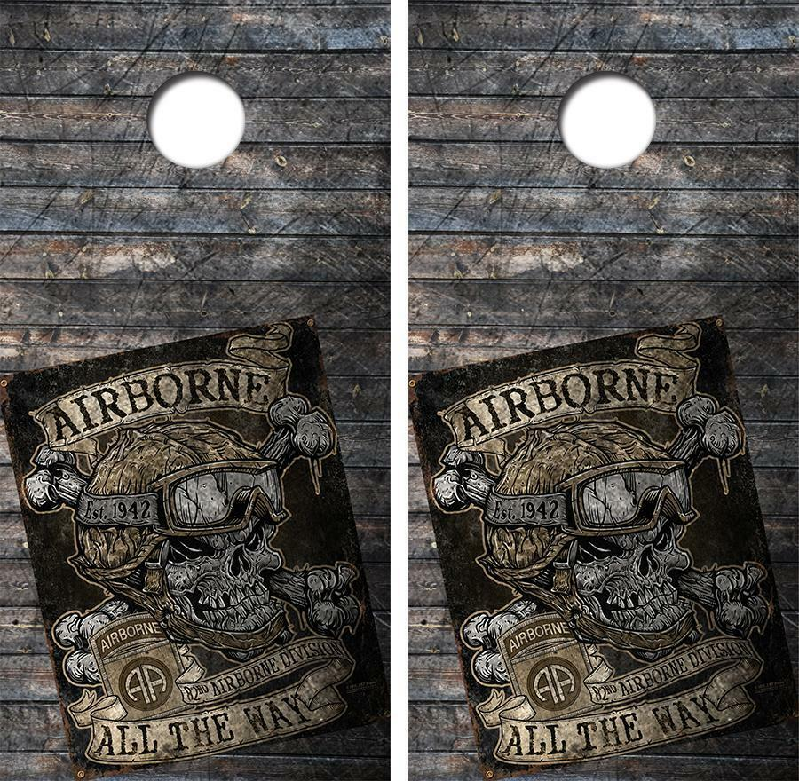 82nd Airborne All The Way Cornhole Board Skin Wrap FREE SQUEEGEE