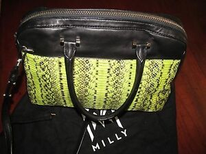 a9810aa36d457d Image is loading MILLY-Mercer-Limeade-Snakeskin-Nappa-Trim-Satchel-Handbag-