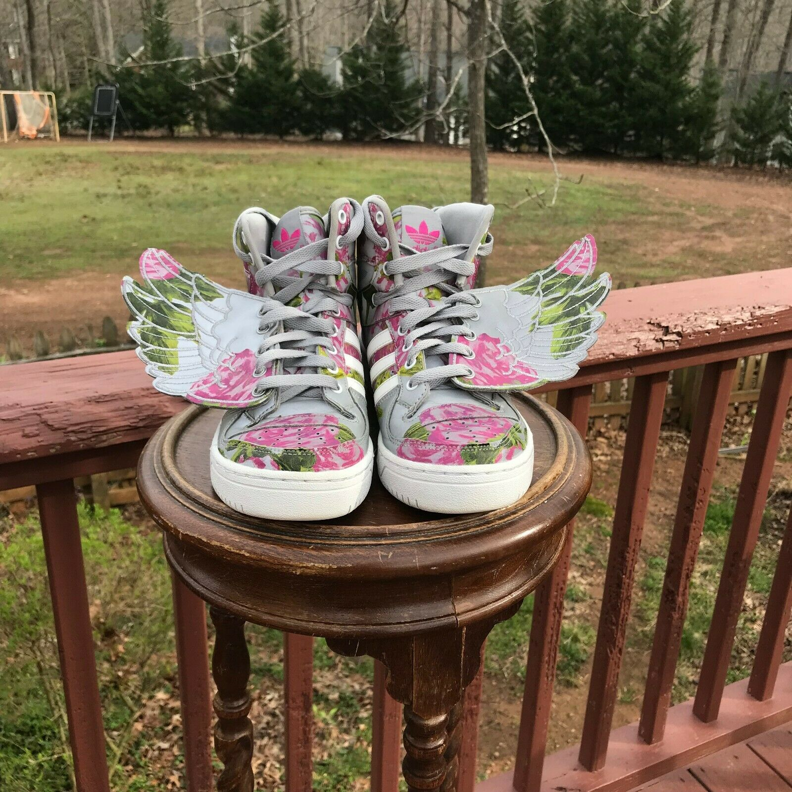 US Size 5 Adidas Jeremy Scott Wings 2.0 FLORAL Silver Pink pinks High Top B26023