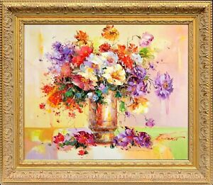 Framed-Original-French-Still-Life-Signed-by-E-Calton-Oil-Painting-On-Canvas