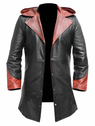 NEW MEN/'S DEVIL HALLOWEEN COSTUME LEATHER LONG CRY MAY DANTE LEATHER HOODIE COAT
