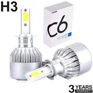 2x Cooligg H3 200W 20000LM COB Car LED Headlight Bulbs Conversion Kit 6000K