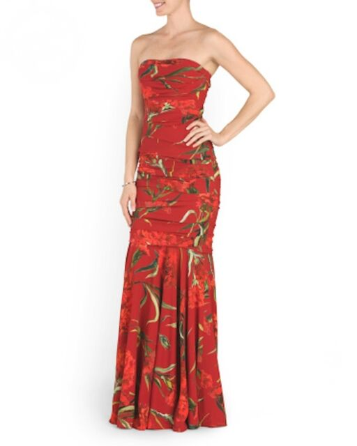 Dolce Gabbana Made In Italy Strapless Floral Printed Maxi Dress Eu