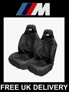 BMW M-SPORT Black Sports Car Seat Covers Protectors x2 MTech M Racing MSport M