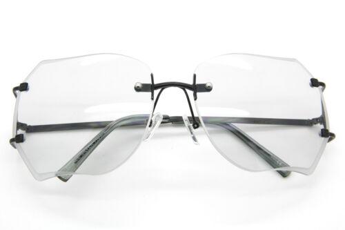 Women Oversized Rimless Sunglasses Color Transparent Lens Metal Frame Retro