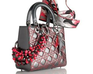 Limited-Edition-LADY-DIOR-Medium-Anselm-Reyle-Metallic-Grey-Fuchsia-Bag-Rare
