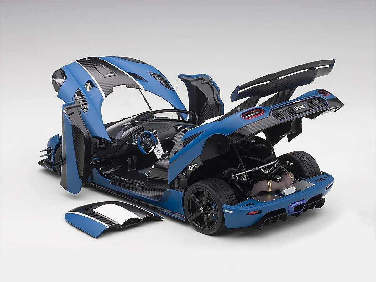 mas preferencial Koenigsegg uno uno uno  1 Matt imperial azul Cochebono Autoart Model 1 18  79018  marca de lujo