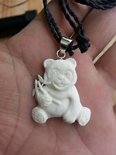 Panda Bamboo Buffalo Bone Hand Carving Pendant w/ Sterling Silver Bale Necklace