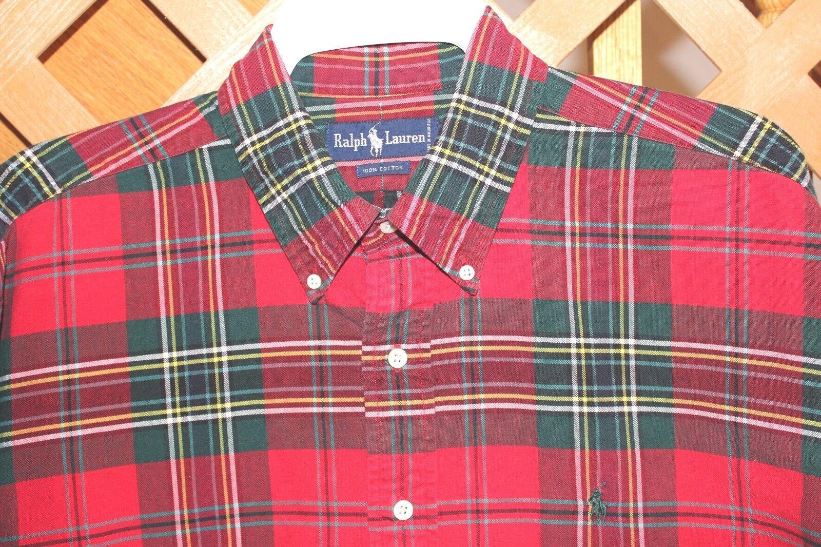 POLO RALPH LAUREN   Men's Long Sleeve Shirt Red Plaid SHIRT SIZE XL