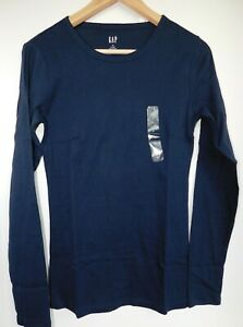 NWT-GAP-Women-039-s-Favorite-LS-Crew-T-Shirt-Navy-Blue-Sizes-XS-S-M-L-XL-2XL-New