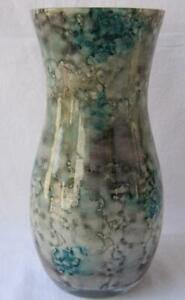 Italian Art Glass Vase Franco Italy dotted gray green No 102 Mother's Day Gift