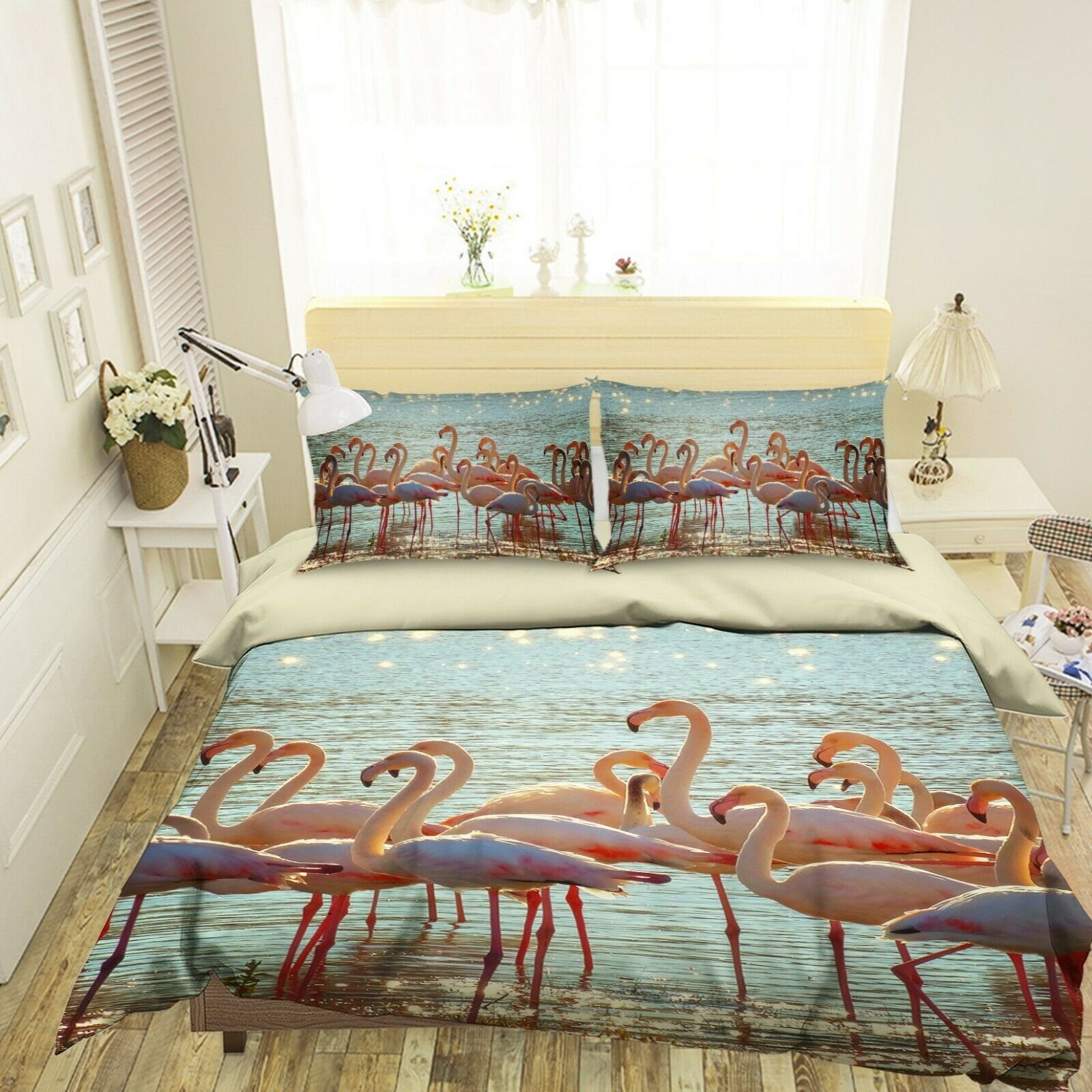 3D Flamingos N42 Animal Bed Pillowcases Quilt Duvet Cover Queen King Amy