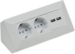 2-fach Steckdosenblock Eck-Steckdose mit 2x USB I 45° Winkel I 230V Aufbau /& Eck