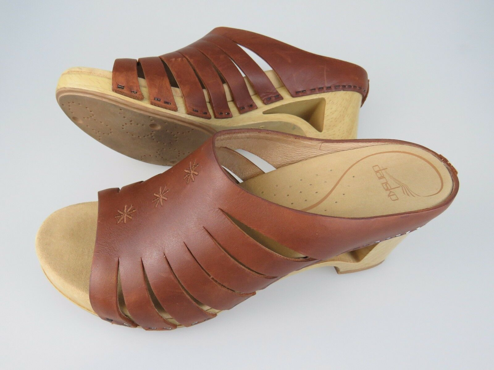 DANSKO Brown Leather Wooden Cut Out High Heels shoes Women's US 10.5