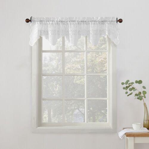 "White Lace Jacguard Scalloped Rod Pocket Window Valance,Sheer Design 58/"" x 14/"""