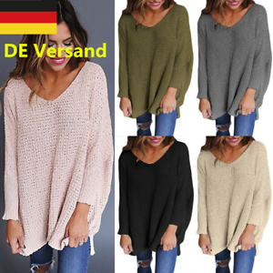 DE-Pullover-Damen-Strick-Sweat-Lose-Sweatjacke-Leicht-Pulli-Oversize-Sweat-Shirt