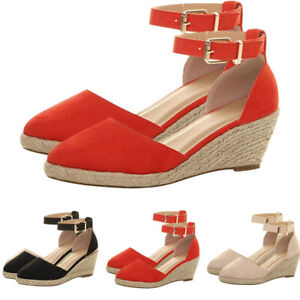 Ladies-Womens-Wedge-Low-Heel-Sandals-Close-Toe-Buckle-Ankle-Strap-Platform-Shoes