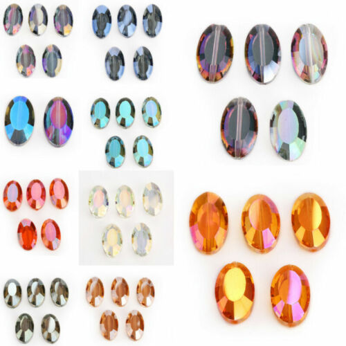 Hot 22mm 5pcs Flat Oval Faceted Glass Crystal Spacer Loose Beads Jewelry Design