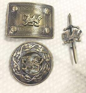 Agressif Laiton Antique Dragon Kilt Accessories Set Boucle De Ceinture Kilt Pin & Piper Broche-afficher Le Titre D'origine