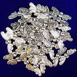 12Pcs-Newest-Carved-Tibetan-silver-Butterfly-Pendant-Bead-22x6x3mm