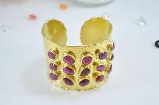OttomanGems semi precious stone gold bracelet cuff bangle Ruby ethnic Handmade