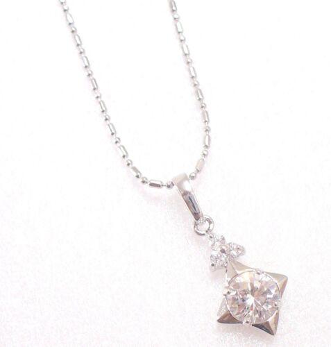 Women  square Drop Necklace Pendant White gold Platd Clear CZ Cubic UK Seller