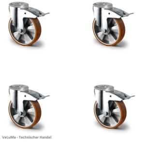 Satz Transportrollen Schwerlastrollen 160 200 mm Polyurethan Rad Transportgeräte