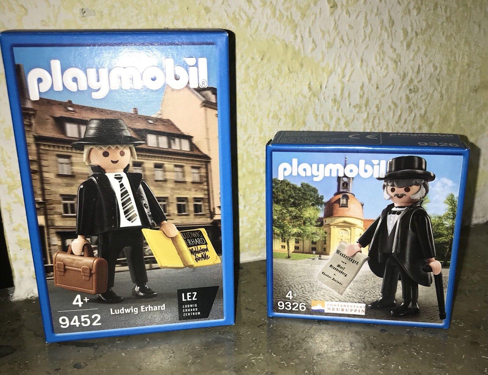 2 Playmobil Sonderfiguren - 9452 LUDWIG ERHARD + 9326 THEODOR FONTANE -NEU/OVP-