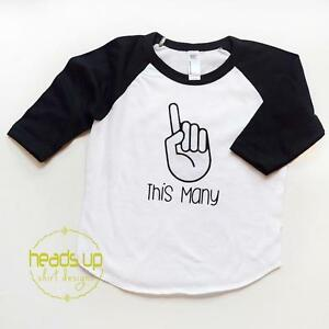 65a84b568 Details about I Am This Many 1 Finger Raglan Shirt Baby Boy/Girl First  Birthday One 1st Cake T