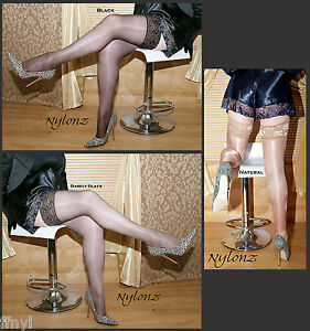 3-pairs-NYLONZ-Italian-Sheen-Hold-Ups-Hold-Up-Stockings-MIX-COLOUR-S-M-L-XL