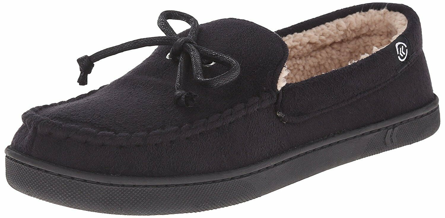 Isotoner Black Micro-suede Gel-Infused Memory Foam Sherpa Lined Moccasin Slipper