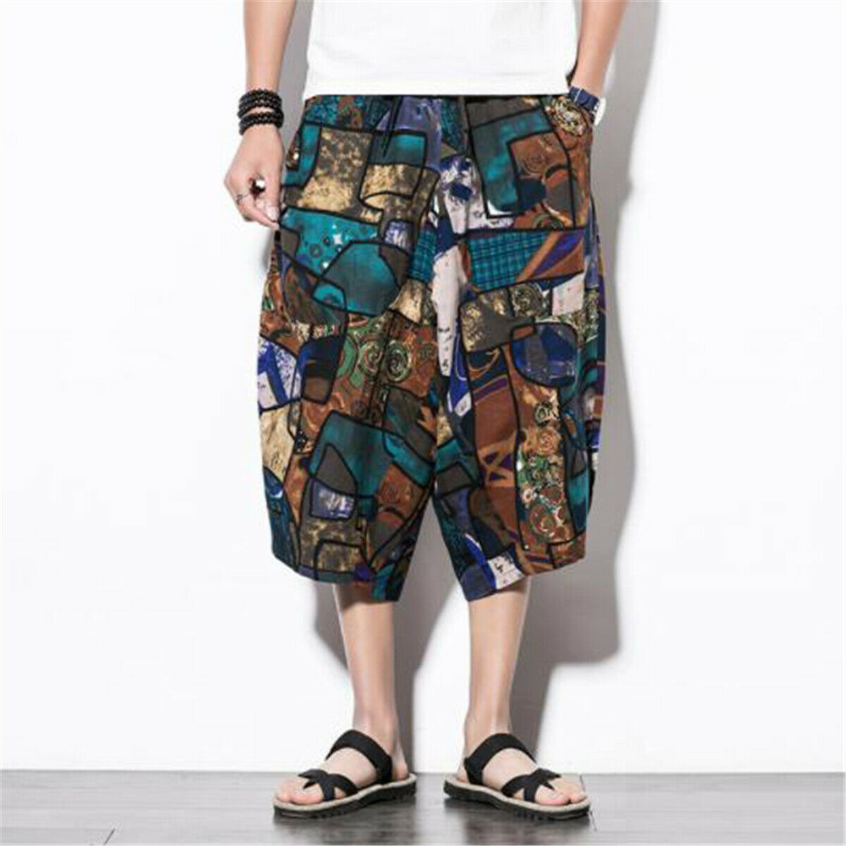 Men's Casual Harem Pants Linen Loose Cropped Pant Capri Oversize Trousers Shorts