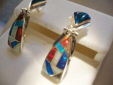 RED Black iridescent GLOWING FIRE OPAL Drop Dangle Sterling Silver 925 Earrings
