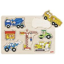 Holzpuzzle BAUSTELLE  Puzzle ANGEBOT Holz GOKI Autos Bagger Kran Bauwagen Raupe Holzspielzeug