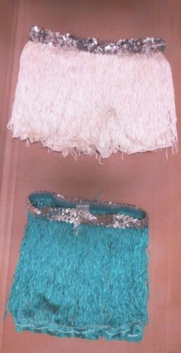 """NEW FRINGE SKIRT W//Silver Sequin waist band 7 colors offered ch//ladies 9/"""" length"""