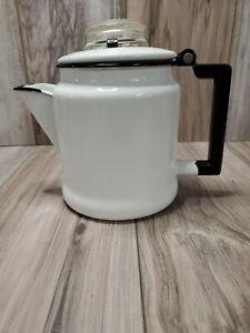 Vintage-Black-amp-White-Enamel-Ware-Percolator-Coffee-Pot-Pyrex-Glass-Lid-7-034