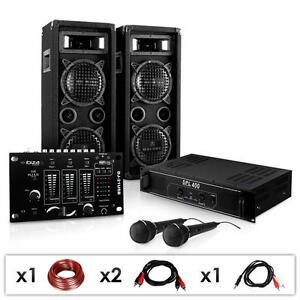 kompakte dj pa anlage boxen lautsprecher mixer verst rker mikrofon 1200w sound ebay. Black Bedroom Furniture Sets. Home Design Ideas