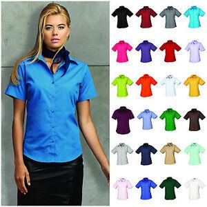 Ladies-Womens-Short-Sleeve-Blouse-Shirt-Business-Work-Top-Size-6-26-Free-PnP
