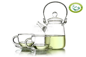 Glass-Teapot-Heat-Resistant-350ml-12oz-2-Cups-with-Saucer-Blooming-Tea-Gift