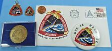 NASA LOT of 5 vtg '91 STS-48 Space Shuttle DISCOVERY Postal Cover Charm Pin COIN