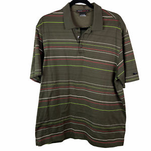 Nike-Dri-Fit-Tiger-Woods-Mens-sz-L-Large-Polo-Golf-Shirt-Striped-Green-Red-Tan