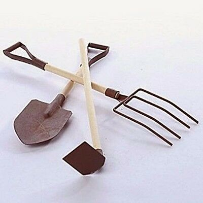 Miniature Dollhouse FAIRY GARDEN ~ Set of 4 Rustic Antiqued TOOLS Rake Fork Hoe