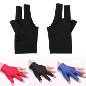 Lycra-Snooker-Billiard-Cue-Gloves-Pool-Left-Hand-Open-Three-Finger-Glove-Comely