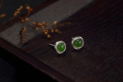 D03 Ohrringe Ohrstecker Kreis Jade grün rund 925 Sterling Silber