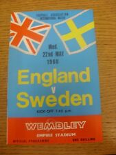 22/05/1968 England v Sweden [At Wembley] . Any faults are noted in brackets, oth